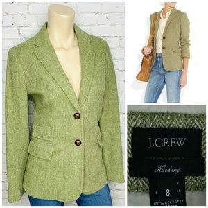 J. CREW Hacking Wool Blazer Green Herringbone Sz 8